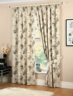 """LAURA BEIGE FLORAL LINED PENCIL PLEAT 3""""TAPE READYMADE CURTAINS W46 66 90"""