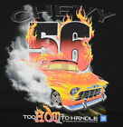 Chevy 56 Too Hot to Handle T-Shirt Black American Muscle Fire Burning Smoke BABA