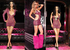 NEW DELUXE SEXY CLUB RAVE STRIPPER POLE LAP DANCING STRIPED FISHNET MINI DRESSES