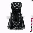 BLACK POLKA DOT ROCKABILLY VINTAGE COCKTAIL PARTY EVENING PROM DRESS SIZE 12-24