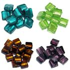 10 x 12mm Square Silver Foil Lampwork Beads - 10 Colours Available