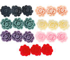3 row rose resin flat back cabochon flower 50x17mm 5 pieces