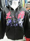 LADIES GIRLS LA BLACK PURPLE HOODED HIPHOP ZIP UP COLLEGE SWEATSHIRT HOODIE