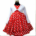 S R3120 Red Polka Dot Girls Dress + White Cardigan SZ  2,3,4,5,6,7,8,9,10,11,12T