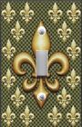 Light Switch Plate Switchplate and Outlet Covers FLEUR DE LIS GOLD ON GREEN