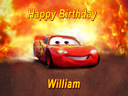 Personalised Lightning McQueen (4) Car Edible Wafer Cake Toppers