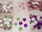 50 ACRYLIC FLOWER GEMS, flat mirror back, 5 PACKS TO CHOOSE FROM
