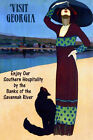 Visit Georgia Black Cat Savannah River Travel Large Vintage Poster Repro FREE SH