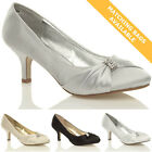 WOMENS WEDDING BRIDAL LADIES PROM SHOES LOW HEEL BRIDESMAID EVENING SANDALS SIZE