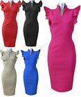 V Neck  Frill Hybrid Style Bodycon Pencil Wiggle Dress UK Size 10-18  (HYD)