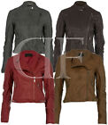 NEW LADIES WOMENS FAUX LEATHER BIKER FITTED JACKET COAT RED TAN GREY BROWN 8-14