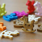 48pcs: Rocking Horse Wood Buttons Patchwork Sewing Scrapbook 2 holes