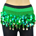 Gold Milky Sequins Beads Belly Dance Hip Scarf Wrap Chiffon Multi Color