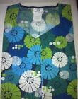 Scrub Top Sweetheart Neck 5 Snap 2 Pocket Colored Flower Wheels WS Fund.