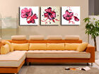 Hand paint flowers art Decorative Canvas Print Set Of 3 high quality - Framed