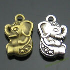 Vintage Silvery Bronze Small Alloy Pendants Strong Elephant Animal Charms 14mm