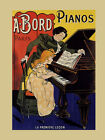 Girl Learning Play Piano Music Bord Paris France Vintage Poster Repro FREE SH