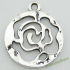 D20 Antique Silver Plated Rose Flower Charms Dangle Round Pendant 20mm Wholesale