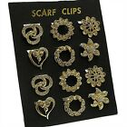 GORGEOUS GOLD COLOURED SCARF CLIPS WITH CRYSTAL DETAIL ASSORTED DESIGNS