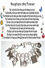 Daughters Are Forever Themed Charm Bracelet Poem +2x4 Card Organza gift bag Set