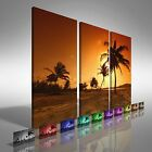 Sunset On Palm Island Treble Canvas Print Large Picture Wall Art