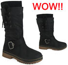 WOMENS LADIES PULL ON MID CALF BUCKLE HARD SOLE WINTER RAIN SHOE BOOT SIZE 3-8