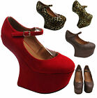 NEW WOMENS LADIES SEXY MARY JANE HEEL-LESS HIGH PLATFORM COURT SHOES WEDGES 3-8