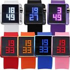 Fashion LED Digital Women Mens Mirror Date Year Silicone Sport Wrist Watch Gift