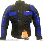Kids Childrens Blue Armoured Motorcycle Motorbike Waterproof Cordura Jacket