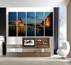 Italy Venice water night view Art photo On Quality Canvas Prints Set Of 5 clock