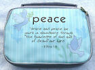 "Lilac Bible case book cover Organiser Bag ""Peace"" Silk Screen Design Bible Verse"