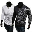 Mens Casual Slim Fit Stylish Long  COOL Sleeves Tee Shirts T-SHIRT  Black White