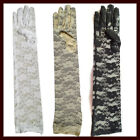 Pair of Elegant Ladies Long Lace Gloves Wedding Costume - White Ivory Black 45cm