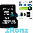 Philips 8GB 8G Micro SDHC TF Memory Card Class 10 C10 w SD Adapter+USB Reader