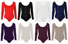 Womens Leotard Bodysuit Shapewear Long Sleeve Stretch Body Top UK 8-28