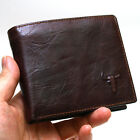 New Mens Cowhide Leather Bifold Vintage Wallet Pures 2 ZIPPERD POCKET