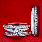 His & Hers 4 pcs Womens & Mens STAINLESS STEEL Engagement Wedding rings set new