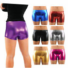 NEW LADIES WOMENS PVC PU SHINY SHORTS WET LOOK BLACK HOT PANTS MINI SHORTS 8-14