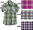 Dickies Women's Short Sleeve Plaid Shirt Button Front Tailored Fit FS065