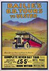 Bailie's BB Tours to Ulster, Bangor, Northern Ireland. Vintage Travel Poster art