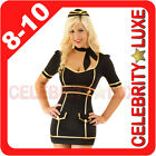 New Ladies Uniform Fancy Dress Costume Hens Night Party Black Hat Occupational