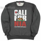 California Crew Neck Sweat Shirt Charcoal Cali Republic Bear Star BABA Forever