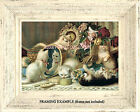 "Vintage KITTENS ROSES Mischief Mirror Lace ""The Five Senses"" Antique ART PRINT"