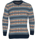 Grancos Men's Fairisle Long Sleeve Kw576 Crew Neck Jumper- Navy