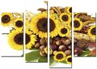 Sunflower Yellow 4p large artwork  home living kitchen painting stretched framed