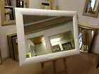 NEW MODERN HIGH GLOSS/SHINY WHITE WALL AND OVERMANTLE MIRRORS - VARIOUS SIZES AV