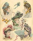 1880 Victorian Hats~counted cross stitch pattern #248~Vintage Fashion Chart