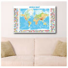 GIANT Canvas Modern World Map with Flags print art poster reproduction photo