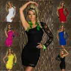 Sexy Clubbing Party mini Dress Lace One shoulder stretchy Bodycon Size UK 8/10