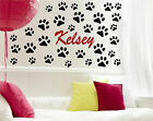 Personalized Name & 32 Puppy Dog Paw Prints - Vinyl Wall Decal Decor Sticker